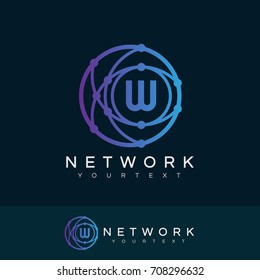 network initial Letter W Logo design