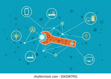 Network and Internet solutions conceptual illustration