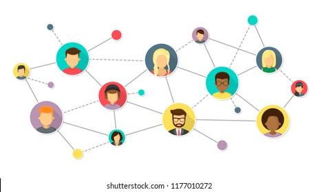 network isolated on white background flat design vector illustration