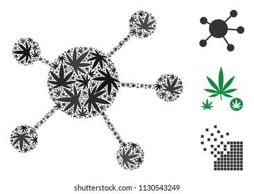 Network links composition of marijuana leaves in various sizes and color variations. Vector flat marijuana leaves are composed into network links composition. Addiction vector illustration.