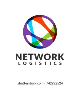 Network logistic company vector logo. Web, Digital, Speed, Marketing, Network icon. Technology logo. Technology Icon. Tech logo. Network Icon. Communication, union sign.