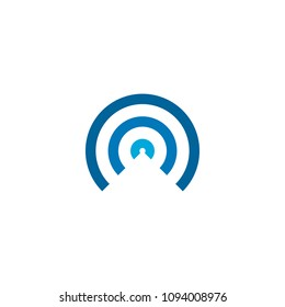 Network logo circle design, wireless logo with blue color.