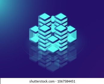Network or mainframe infrastructure, server room and datacenter, futuristic supercomputer, isometric vector illustration on neon dar background