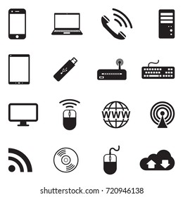 Network And Mobile Devices Icons. Black Flat Design. Vector Illustration.