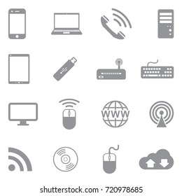 Network And Mobile Devices Icons. Gray Flat Design. Vector Illustration.