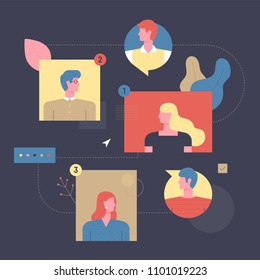 A network of people connected by the Internet. concept flat design style vector graphic illustration set