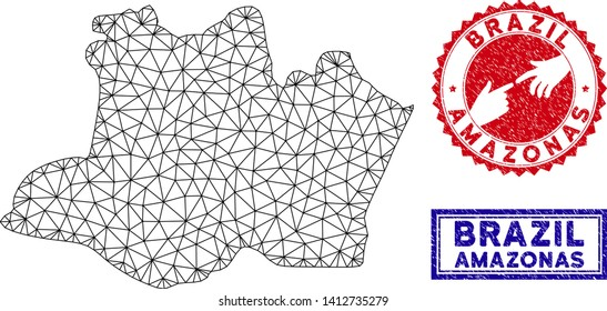 Network polygonal Amazonas State map and grunge seal stamps. Abstract lines and small circles form Amazonas State map vector model. Round red stamp with connecting hands.