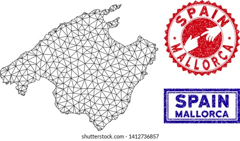 Network polygonal Mallorca map and grunge seal stamps. Abstract lines and spheric points form Mallorca map vector model. Round red stamp with connecting hands.