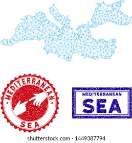 Network polygonal Mediterranean Sea map and grunge seal stamps. Abstract lines and spheric points form Mediterranean Sea map vector model. Round red stamp with connecting hands.