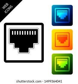 Network port - cable socket icon isolated. LAN port icon. Ethernet simple icon. Local area connector icon. Set icons colorful square buttons. Vector Illustration