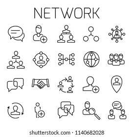Network related vector icon set. Well-crafted sign in thin line style with editable stroke. Vector symbols isolated on a white background. Simple pictograms.