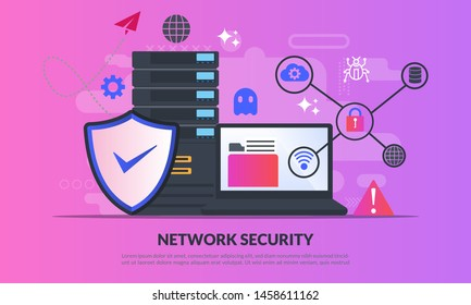 Network security concept, Database secure and personal data protection, Traffic Encryption, VPN, Privacy Protection, Antivirus Technology, flat icon, suitable for web landing page, banner, vector