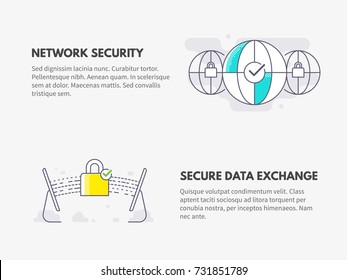 Network security and Secure data exchange. Cyber security concept. Vector thin line illustration design.