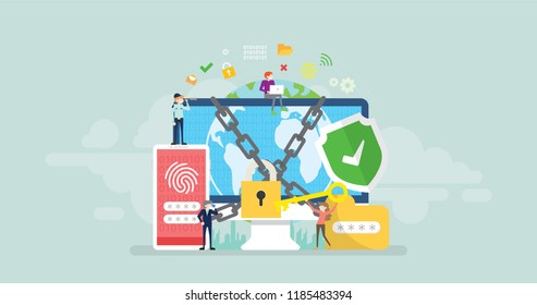 Network Security Tiny People Character Concept Vector Illustration, Suitable For Wallpaper, Banner, Background, Card, Book Illustration, And Web Landing Page