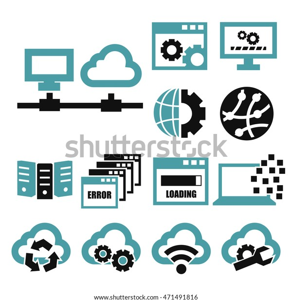 Network Server Icon Set Stock Vector (Royalty Free) 471491816