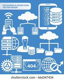 Network and server icon set,clean vector