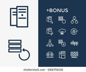 Network and server technology icon line set with data backup, share and data center. Storage related server technology icon vector items for web UI logo design.