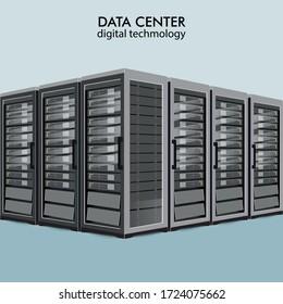 Network servers computer hardware technology decorative elements set vector illustration.