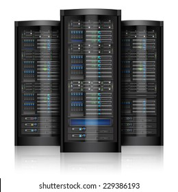 Network servers computer hardware technology isolated on white background vector illustration