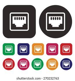 network socket icon. LAN icon