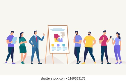 Network and Teamwork Concept. Communication systems, Digital Technologies and Crowdsourcing. Networking People Set. People Work in Office. Happy Workers in Workplace. Flat Vector Illustration.