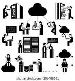 network technician in server room set, network people with cloud computing concept set