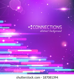 Network technology connections background with light effects and place for text.