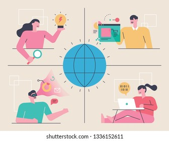 Network Technology and People Character Concept flat design style minimal vector illustration