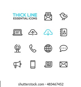 Network and technology symbols - set of modern vector thick line design icons and pictograms.
