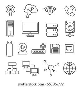 Network and technology symbols: thin monochrome icon set, black and white kit