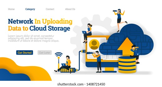 Network in Uploading data to Cloud Storage. upload data on  database to cloud for sharing. Vector flat illustration concept, can use for, landing page, template, web, homepage, poster, banner, flyer