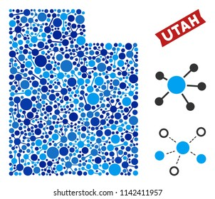 Network Utah State map mosaic. Abstract territorial scheme of connections in blue color tones. Vector Utah State map is composed with net connections. Concept of interlink company.