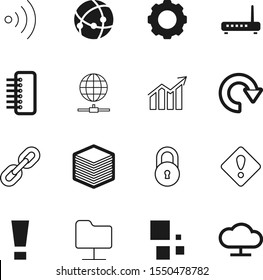 network vector icon set such as: page, structure, padlock, net, cogs, solutions, protection, broadcasting, online, chart, grow, graph, growth, station, strength, gears, system, industrial, electronic