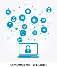 Network Vulnerability, Locked Device, Encrypted Files, Lost Documents, Ransomware Attack - Virus, Malware, Fraud, Spam, Phishing, Email Scam, Hacker Attack - IT Security Concept, Vector illustrationTh