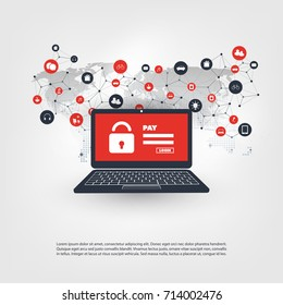 Network Vulnerability, Locked Device, Encrypted Files, Lost Documents, Ransomware Attack - Virus, Malware, Fraud, Spam, Phishing, Email Scam, Hacker Attack - IT Security Concept, Vector illustration