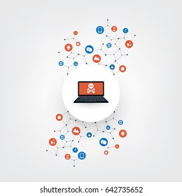 Network Vulnerability, Vulnerable Smart IoT Devices - Virus, Malware, Ransomware, Fraud, Spam, Phishing, Email Scam, Hacker Attack - IT Security Concept Design, Vector illustration