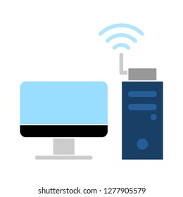 network wifi icon - wifi pc isolated, computer network illustration - wifi Vector