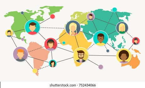 network with world map flat design vector illustration