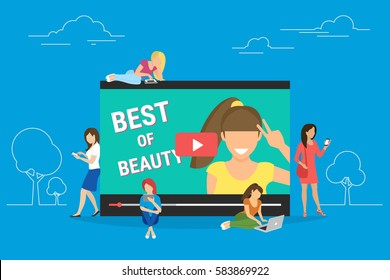 Networking and beauty bloger video streaming isolated on blue background. Flat concept illustration of young women standing near screen and using smart phones and laptops to watch beauty vlog online