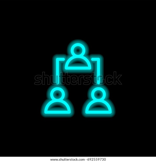 Networking blue glowing neon ui ux icon. Glowing sign logo vector