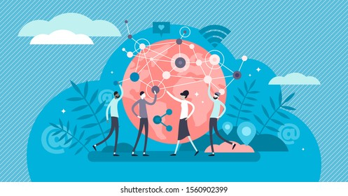 Networking business relations tiny persons concept vector illustration. Cyberspace online global communication, teamwork and cooperation. Human community growth and knowledge data exchange network.