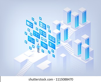 Networking. Database management. Application development. Information technologies. Concept of hi tech isometric vector illustration
