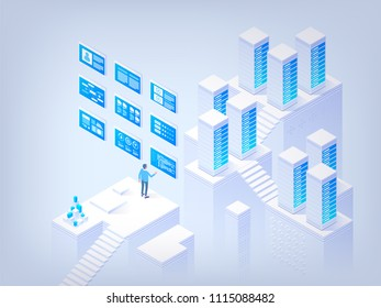 Networking. Database management. Application development. Information technologies. Concept of hi tech isometric vector illustration