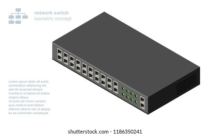 Networking ethernet switch isometric vector illustration.