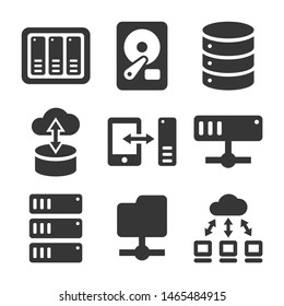 Networking File Share and NAS Server Icons Set. Vector