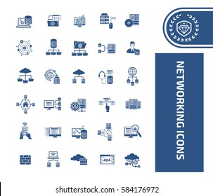 Networking icon set,clean vector