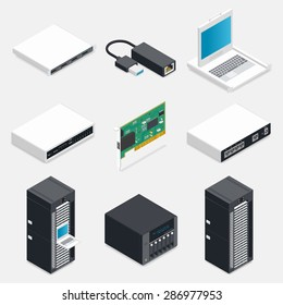 Networking isometric detailed icons set vector graphic illustration