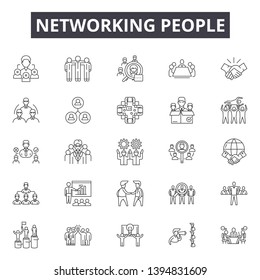 Networking people line icon signs. Linear vector outline illustration set concept.