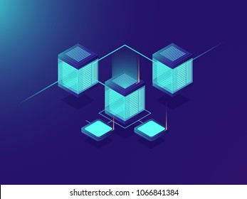 Networking and telecommunication technology, server room, big data center, exchange information transfer isometric vector neon