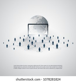 Networks - Business Connections - Abstract Cloud Computing and Global Network Connections Concept Design with World Map and Notebook - Illustration in Editable Vector Format
